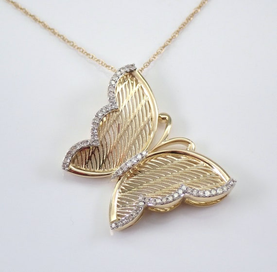 "Yellow Gold Diamond Butterfly Pendant Necklace 18"" Chain Filigree Wedding Gift"