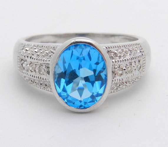 Diamond and Blue Topaz Ring, 14K White Gold Engagement Ring, December Birthstone Ring, Oval Blue Topaz Ring, Size 6.5