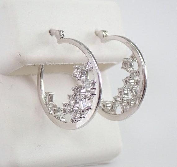 White Gold Unique Diamond Hoop Earrings Diamond Hoops Huggies Gift Modern Design