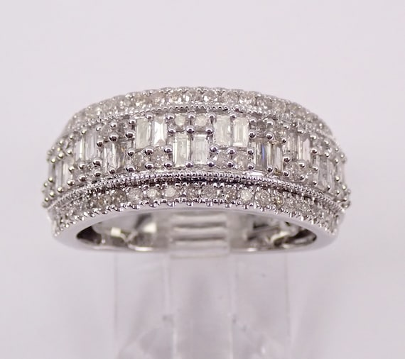 1.00 ct Wide Diamond Wedding Ring Anniversary Band White Gold Cluster Size 7