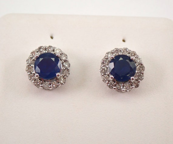 1.25 ct Sapphire and Diamond Stud Earrings Halo Studs White Gold September Birthstone