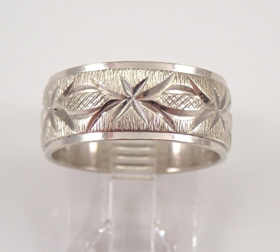 Vintage Estate 14K White Gold Wedding Band Anniversary Ring 7.5 mm Size 6.25