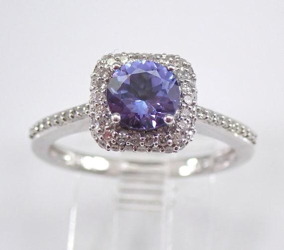 14K White Gold Diamond and Tanzanite Halo Engagement Ring Size 7 December Gem