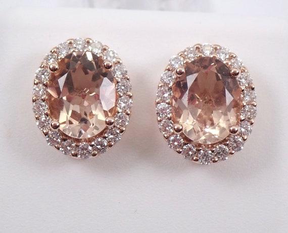 14K Rose Gold 3.19 ct Morganite and Diamond Halo Stud Earrings Pink Aqua Studs