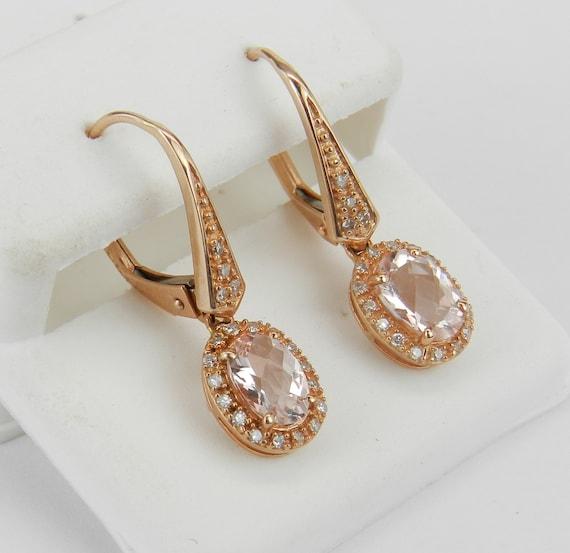 Rose Gold Morganite and Diamond Dangle Halo Earrings Leverback Clasp