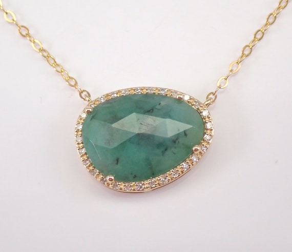 "Yellow Gold 2.70 ct Emerald Slice and Diamond Halo Pendant Necklace 17"" Chain May Gemstone"