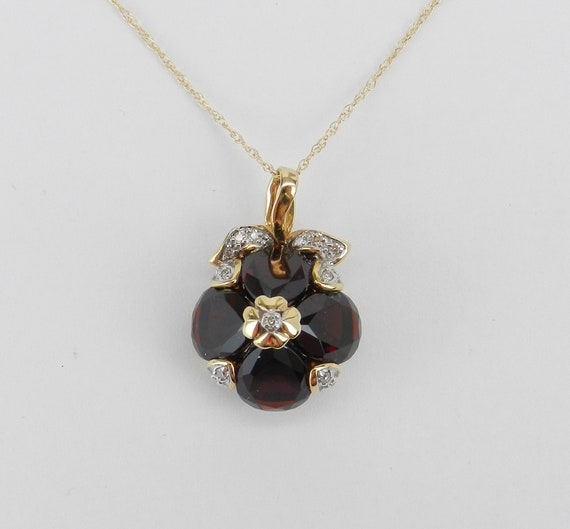 "Garnet and Diamond Necklace Pendant 14K Yellow Gold 18"" Chain January Birthstone Apple Fruit Flower Necklace"