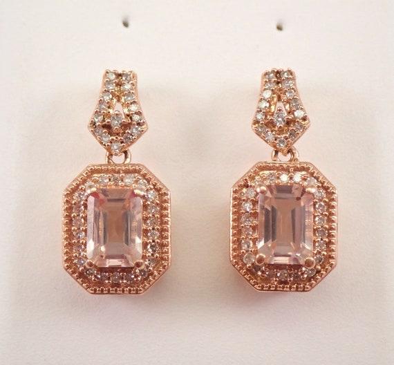 Emerald Cut Morganite and Diamond Halo Drop Dangle Earrings Rose Gold Unique