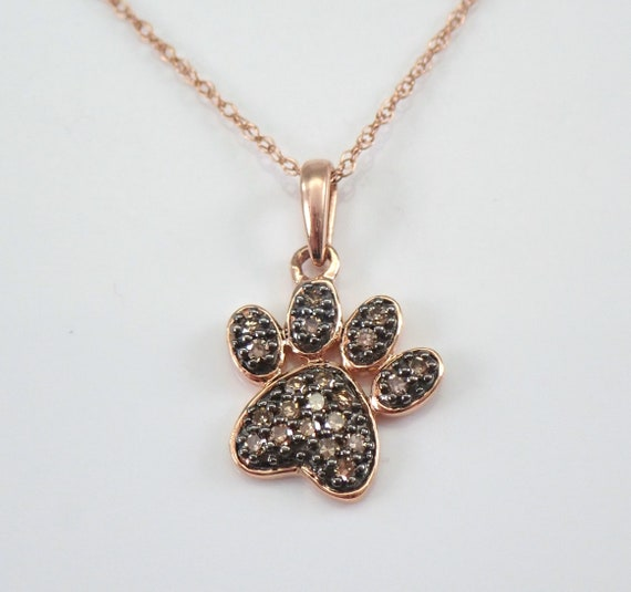Rose Gold Cognac Diamond PAW Print Pendant Wedding Gift Necklace Chain 18""