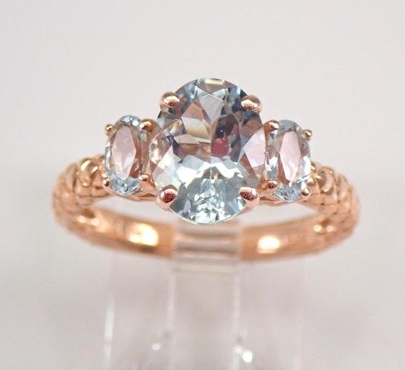 Rose Gold 2.00 ct Aquamarine Three Stone Engagement Ring Anniversary Band Size 7 FREE Sizing