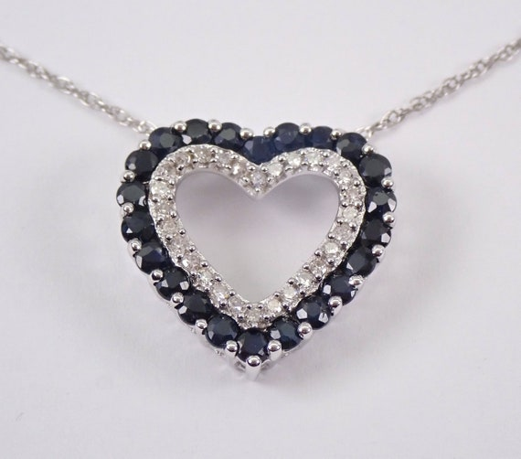 "14K White Gold Diamond and Sapphire Open Heart Pendant Necklace Chain 18"""