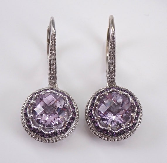 Amethyst and Diamond Halo Earrings White Gold February Birthstone Antique Style Design