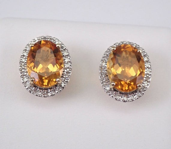 Oval Citrine and Diamond Stud Earrings Halo Studs 14K Yellow Gold November Birthstone
