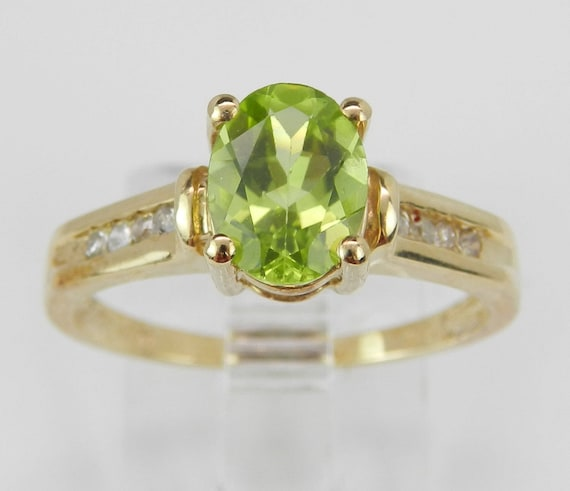 Peridot and Diamond Engagement Ring Yellow Gold Size 7 August Birthstone Gem FREE Sizing