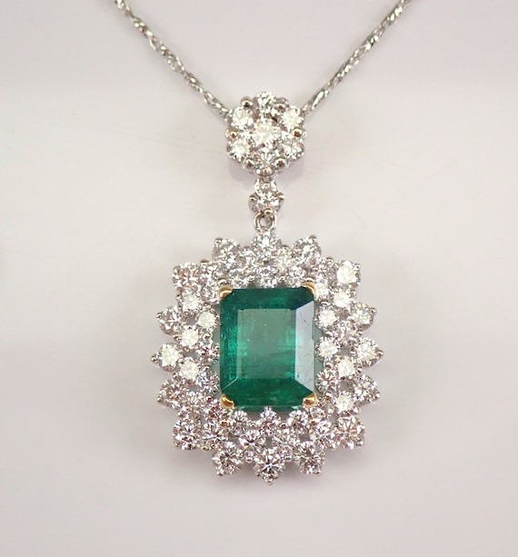"""18K White Gold 5.12 ct Emerald and Diamond Halo Pendant Necklace 18"""" Chain May Gemstone"""