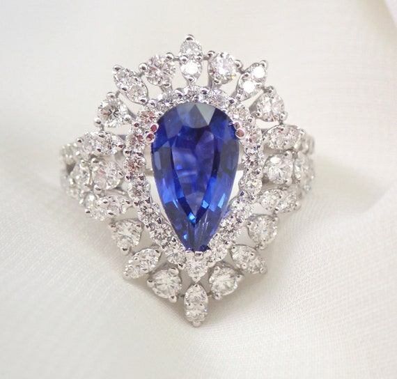 18K White Gold 4.70 ct Diamond and Sapphire Halo Engagement Ring Size 7 September Gemstone Something Blue FREE Sizing