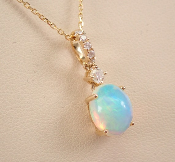 """14K Yellow Gold Diamond and Opal Pendant Necklace 18"""" October Birthstone"""