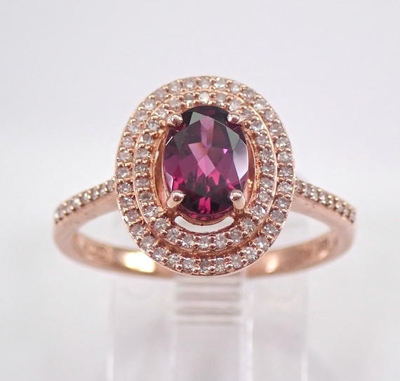 Rose Gold Rhodolite Garnet and Diamond Double Halo Engagement Ring Size 7 January Birthstone FREE Sizing