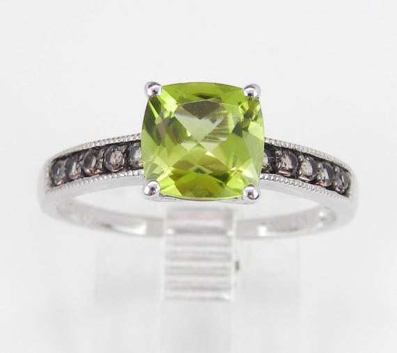 Cushion Cut Peridot and Smokey Topaz Promise Engagement Ring White Gold Size 7.25