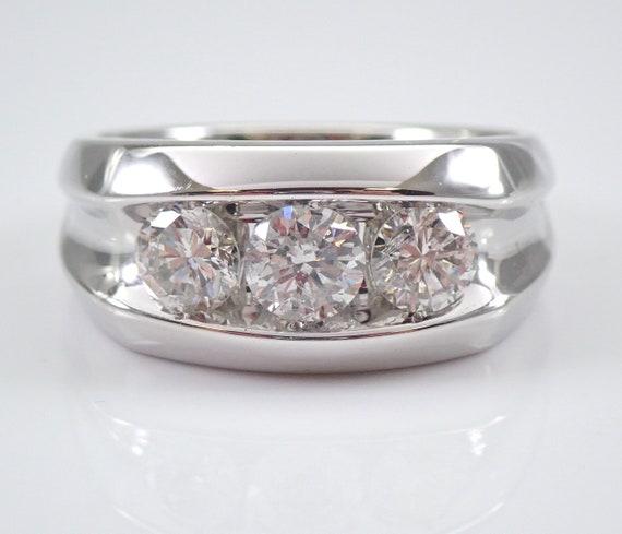 Men's 14K White Gold 1.75 ct Diamond Wedding Ring Three Stone Anniversary Band Size 10 FREE SIZING