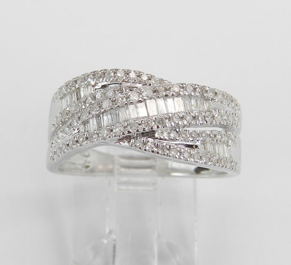 Diamond Wedding Ring Anniversary Band Crossover Ring 14K White Gold Size 7