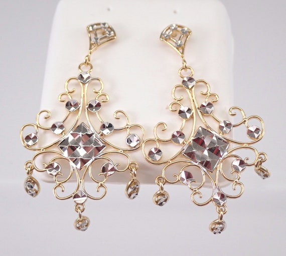 Vintage Estate 14K Yellow Gold Chandelier Earrings Dangle Earrings