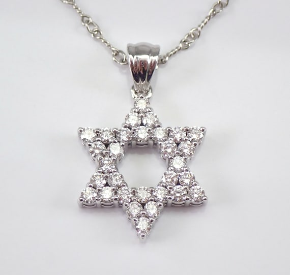 "1.26 ct Diamond Star of David Pendant Necklace 14K White Gold 18"" Chain Jewish Religious Charm F VS"