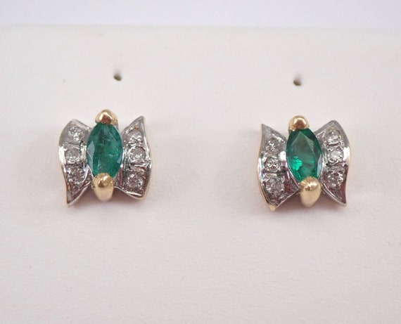 Emerald and Diamond Stud Earrings 14K Yellow Gold Bow Tie Studs May Birthstone