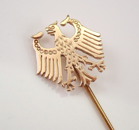 Vintage Estate 14K Yellow Gold GERMAN Eagle Crest Stick Pin Brooch Deutschland Heraldic by Manfred Ebert