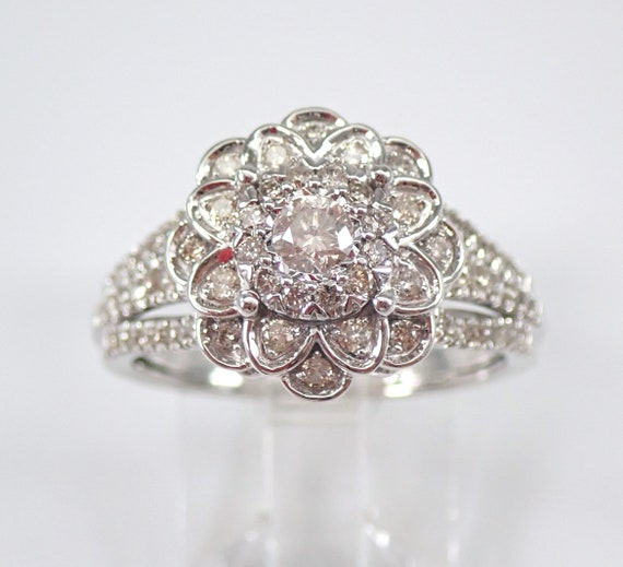 14K White Gold Diamond Engagement Ring Flower Cluster Cocktail Size 7 FREE Sizing