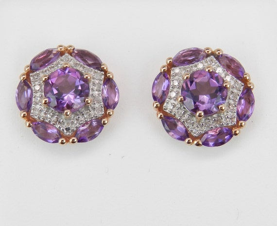 Amethyst and Diamond Stud Earrings Cluster Halo Earrings 14K Rose Gold Studs