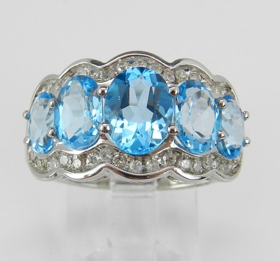 Blue Topaz Band, Diamond and Topaz Cocktail Ring, Blue Gemstone Ring, 14K White Gold Ring, Wedding Ring, Anniversary Band, Size 7