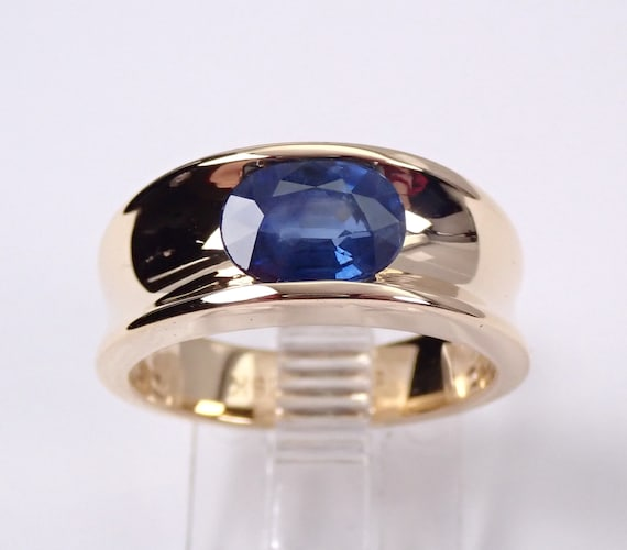Sapphire Solitaire Engagement Ring 18K Yellow Gold Size 6.5 September Birthstone