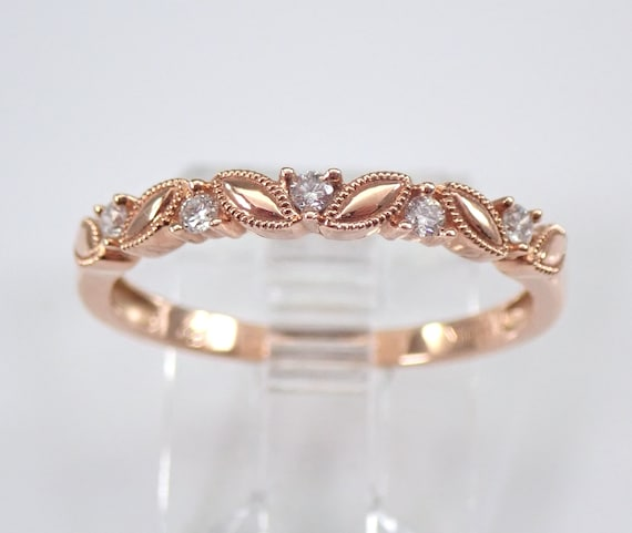 Diamond Wedding Ring Stackable Anniversary Band Rose Gold Pink Gold Size 7