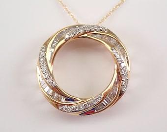 "Yellow Gold Diamond Necklace Circle of Life Pendant Modern Design 18"" Chain"