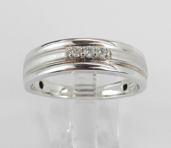 Men's White Gold Diamond Wedding Ring 3 Stone Anniversary Band Size 10.25