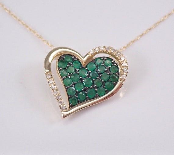 """Diamond and Emerald Heart Necklace Cluster Pendant 14K Yellow Gold 18"""" Chain May Birthstone"""