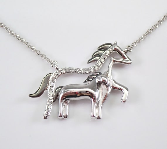 "White Gold Diamond HORSE Pendant Necklace Chain 18"" Equestrian Foal Animal Jewelry"