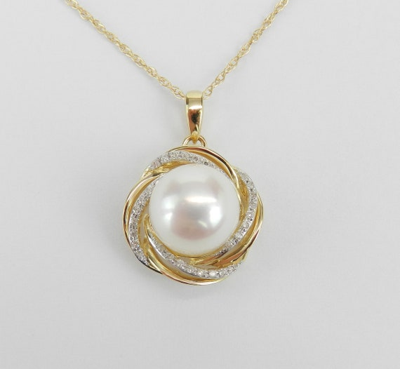"Pearl Pendant, Gold Pearl Necklace, 14K Yellow Gold Diamond and Pearl Swirl Pendant Necklace with Chain 18"" June Birthday"