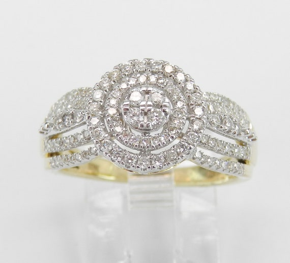 Yellow and White Gold Diamond Double Halo Engagement Ring Cluster Cocktail Size 7