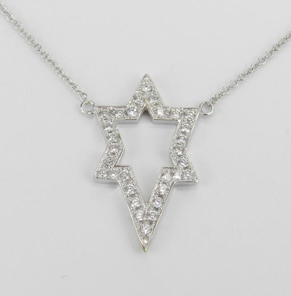 "Diamond Star of David Pendant Necklace 14K White Gold 18"" Chain Jewish Religious Charm"