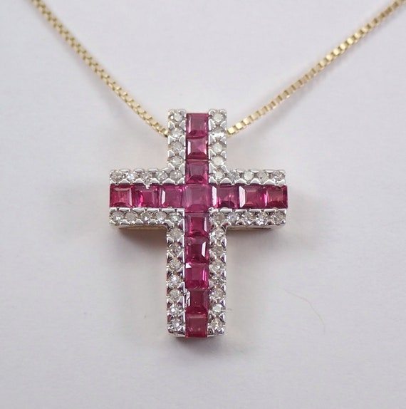 """Diamond and Ruby Cross Pendant Necklace 18"""" Chain 14K Yellow Gold Religious Charm"""