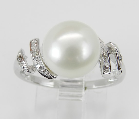 Pearl and Diamond Engagement Promise Ring White Gold June Birthday Size 7