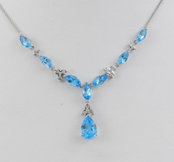 "3.60 ct Diamond and Blue Topaz Lariat Necklace Pendant 17"" White Gold Chain"