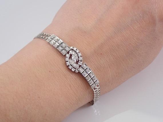 Antique Art Deco 14K White Gold Diamond Statement Bracelet Vintage Circa 1930's