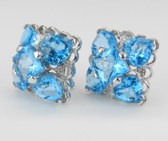 Blue Topaz and Diamond Earrings, 14K White Gold Earrings, Omega Clasp Earrings, December Birthstone Earrings, Fashion Clip On Earrings