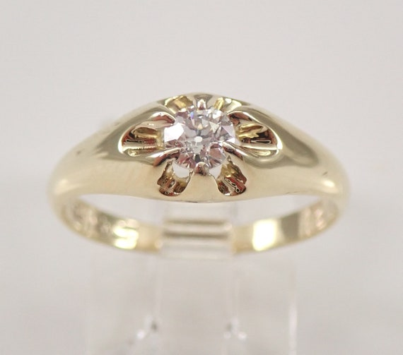 Antique Vintage Yellow Gold Old Miner Diamond Gypsy Solitaire Engagement Ring Size 6.5