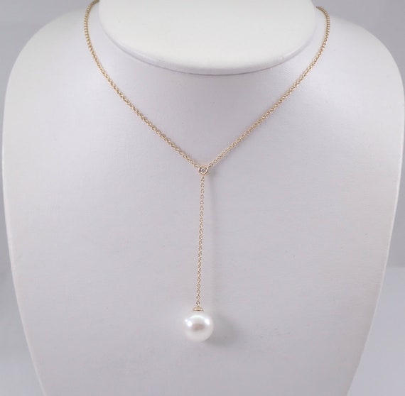 Pearl and Diamond Lariat Necklace 14K Yellow Gold Wedding Pendant Chain 13.5 mm