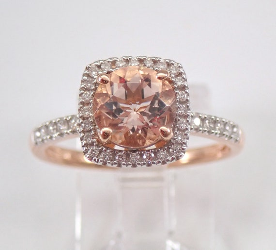 Morganite and Diamond Halo Engagement Ring Rose and White Gold Size 7 FREE Sizing