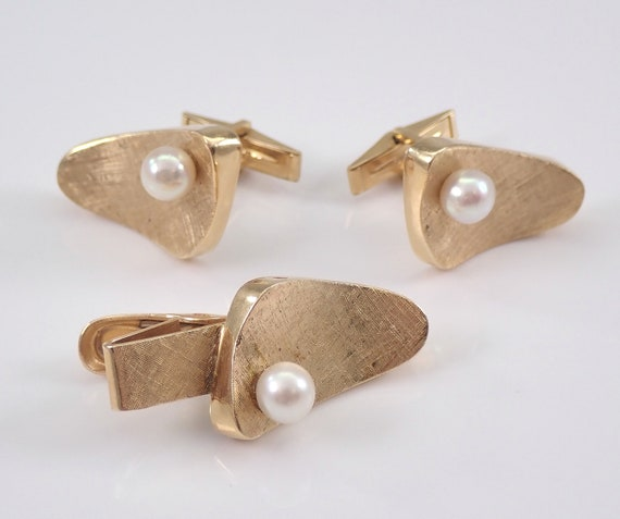 14K Yellow Gold Vintage Estate Pearl Cufflinks and Tie Tack Set Mens Unisex